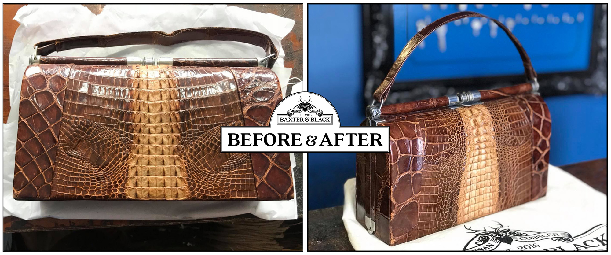 Crocodile vintage bag restoration