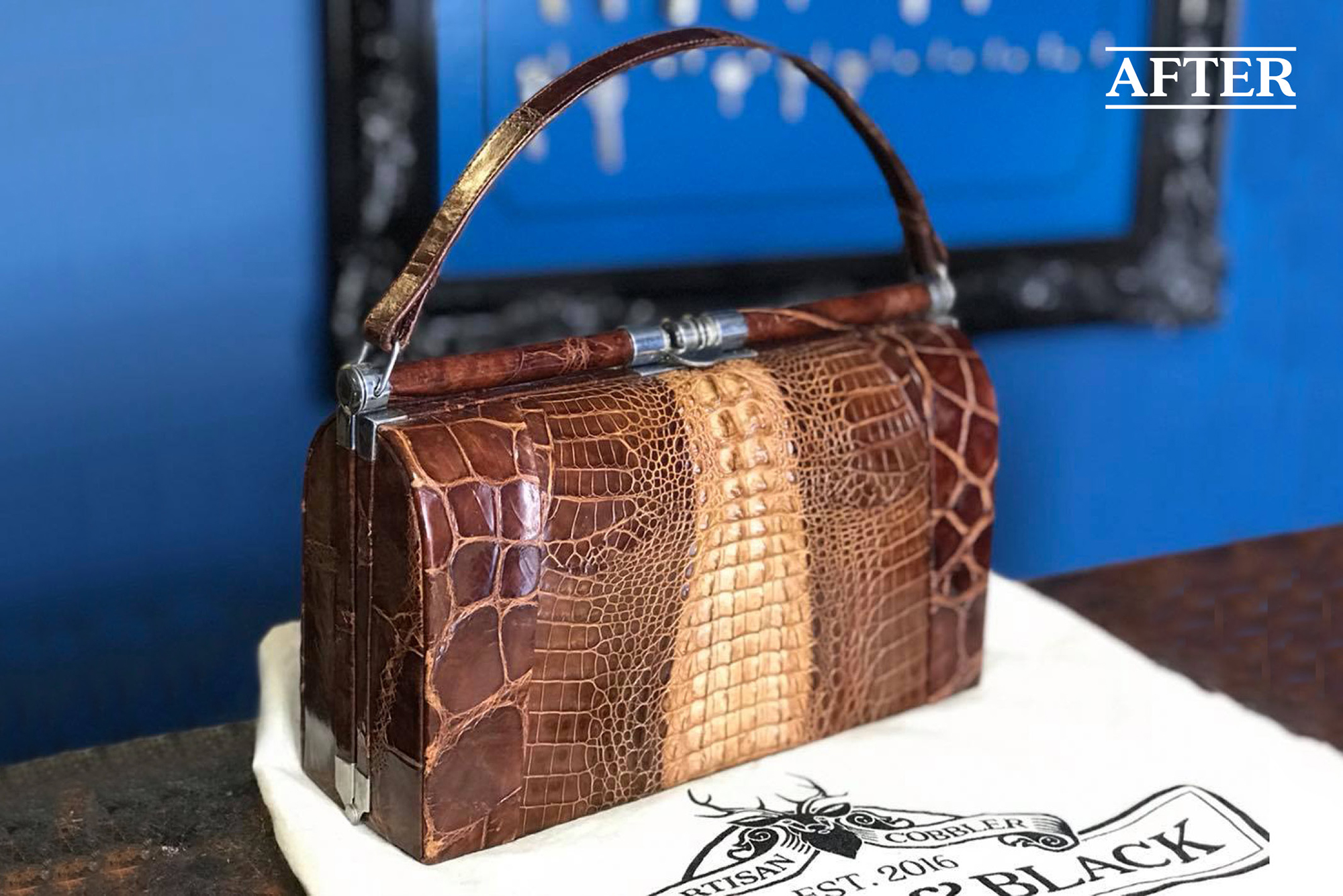 Crocodile vintage handbag restoration
