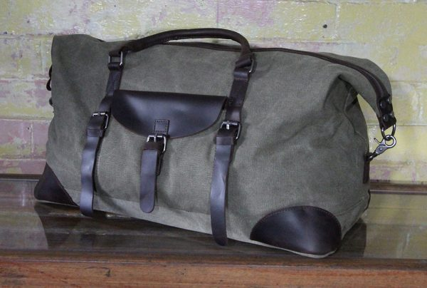 leather and waxed canvas duffle bag