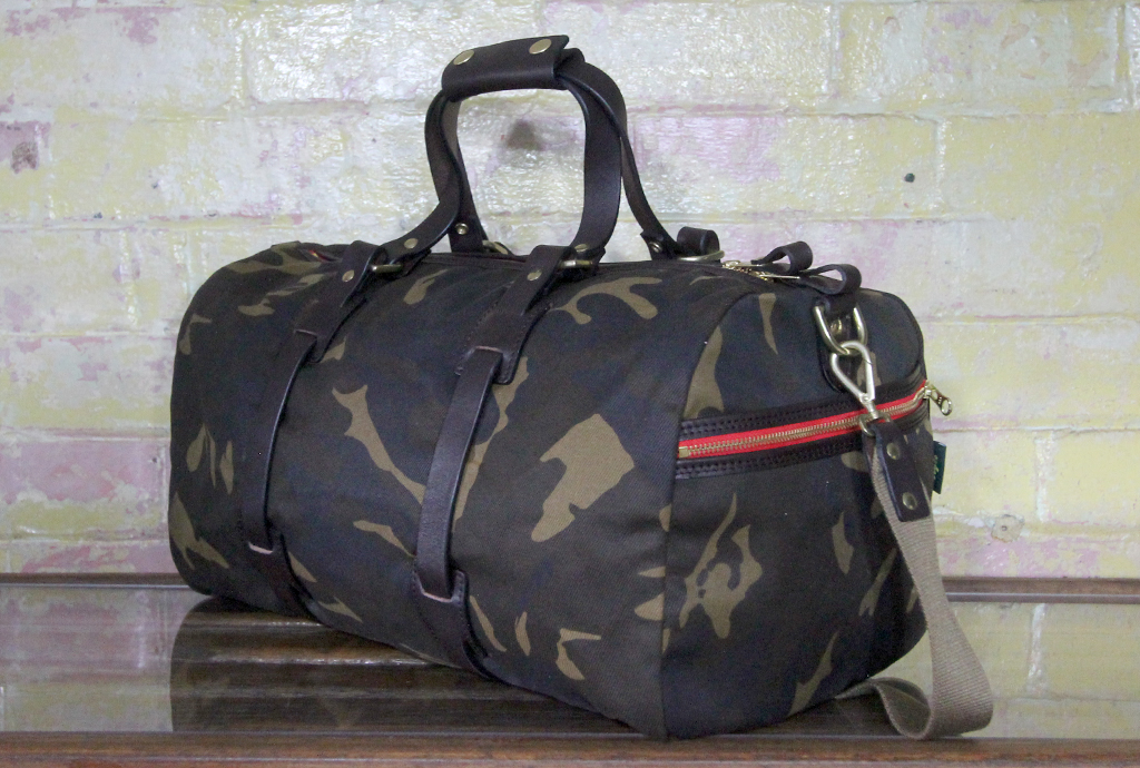 leather waxed canvas duffle bag