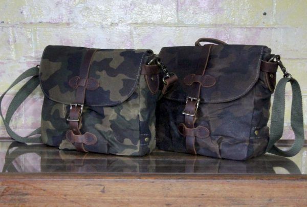 Leather and waxed canvas small satchel in light and dark camo