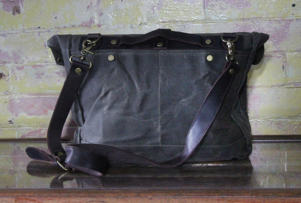 Waxed canvas satchel back