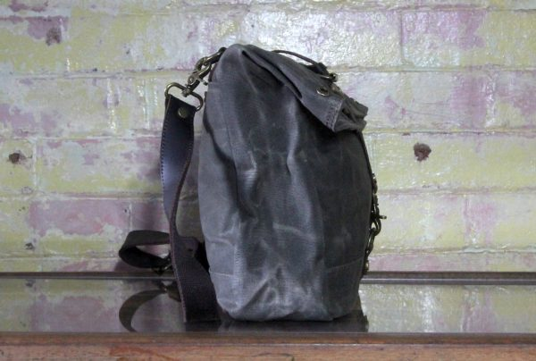 Waxed canvas satchel side
