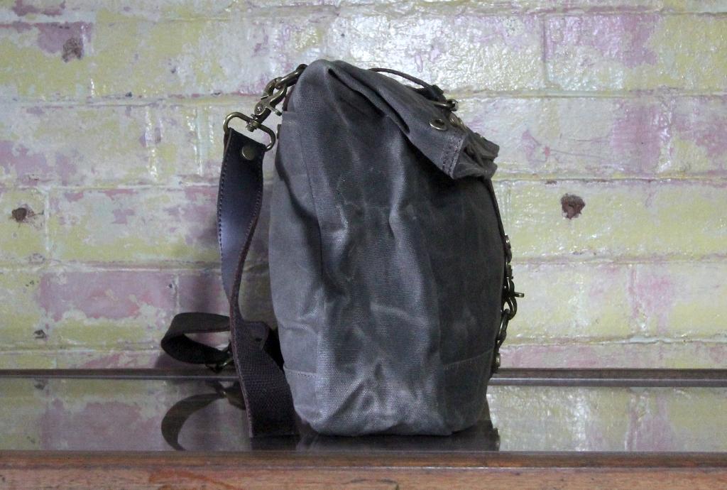 Waxed canvas satchel side