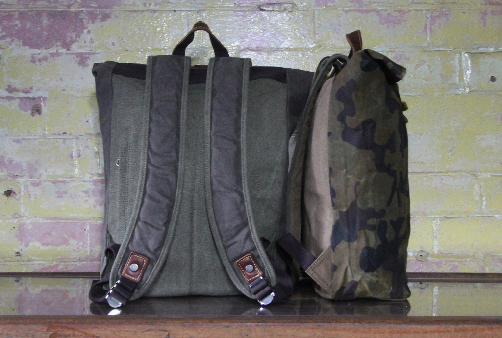Waxed canvas toggle backpack in camo and military green