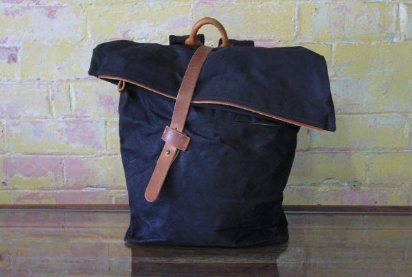 Leather strap backpack